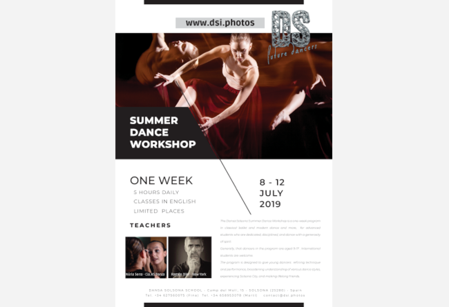 DANSASOLSONA INTERNATIONAL SUMMER WORKSHOP 2019 €10